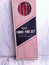 Vintage 6 Piece Fondue Fork Set Rosewood Handles~Stainless Steel~Origina... - $14.59