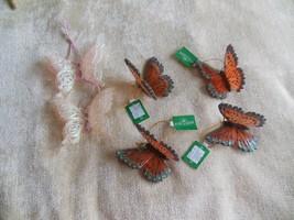 4 Kurt Adler Butterfly Ornaments & 2 White/Pink Glitter - $18.81