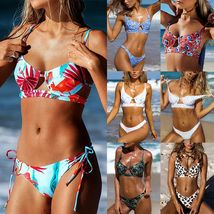 Women's Bikini Set Pushup Padded Floral Swimsuit Bandage Beach Swimwear Summer image 3