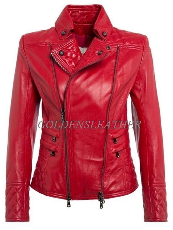 WOMEN BIKER MOTORCYCLE CASUAL SLIM FIT RIDER REAL GENUINE  LEATHER JACKET-A30