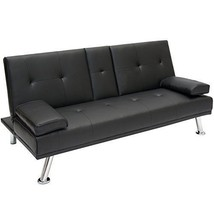 Living Room Futon Sofa Bed Cup Holders Modern Convertible Couch PU Leath... - $260.65