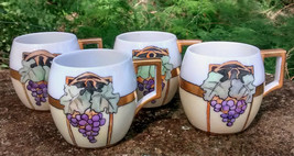 Antique Art Nouveau Mug Set/4 HP Purple Grapes Bavarian China 1913 - $45.00