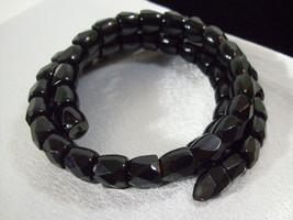 Jet Black Wire Wrap Faceted Glass Beads Bracelet Adjustable Vintage Estate - $16.78