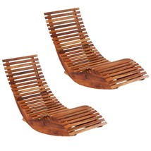 vidaXL 2x Solid Acacia Wood Rocking Sun Loungers Chaise Lounge Outdoor D... - $164.99