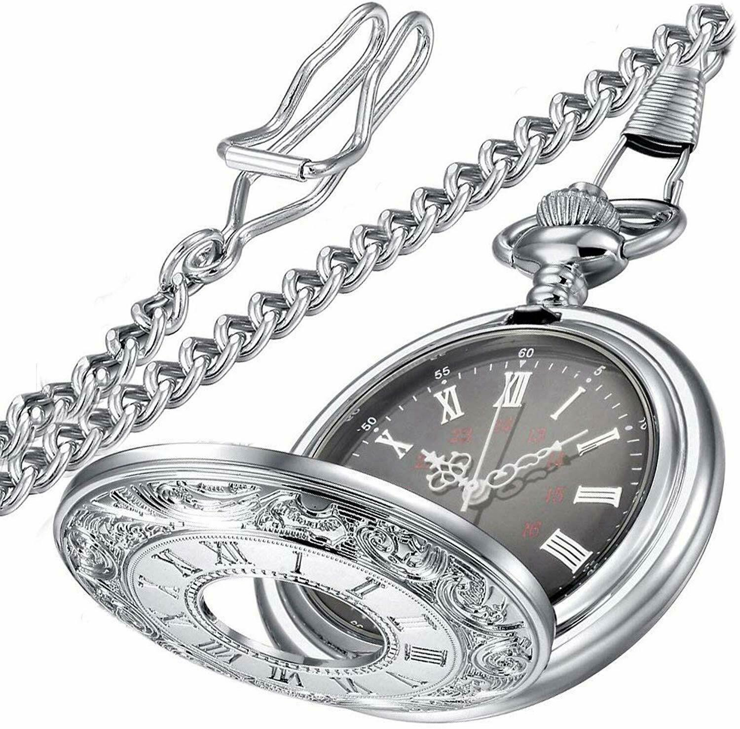 Primary image for Vintage Roman Numerals Quartz Pocket Watch, Men Womens Watch with Chain As Xmas