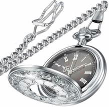 Vintage Roman Numerals Quartz Pocket Watch, Men Womens Watch with Chain ... - $24.99