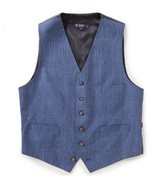 Daniel Cremieux Men's Edward Glen Plaid Suit Dress Vest, Blue, Sizes S/M... - $39.99