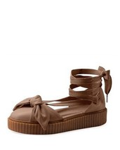 Puma Rihanna FENTY Creeper Mocha Leather Bow Long Ankle Leg Laces Sandals NEW - $54.99