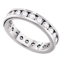 14k White Gold Round Diamond Eternity Wedding Anniversary Band Ring 1-1/2 Cttw - $1,899.00