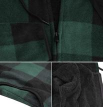 Men's Casual Flannel Zip Up Fleece Lined Plaid Sherpa Hoodie Lightweight Jacket image 7