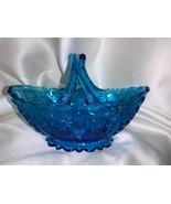Fenton Art Glass Colonial Blue Daisy Button Split Basket - $35.00