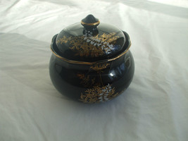 Black Glass Candy Or Sugar Dish With Lid Gold Paint Decoration Trim And ... - $17.82
