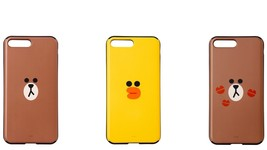 LINE FRIENDS Character iPhone 8 Plus Mirror & Card Case 3 Types Official... - €34,34 EUR