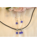 Handcrafted Royal Blue Beaded Necklace and Earrings Set New - $20.99