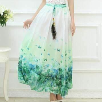 Bohemian Printed Long Chiffon Women Maxi Skirt image 3