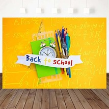 Mehofoto Back to School Backdrop Yellow Blackboard Background 7X5ft Chal... - $23.18
