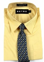 Retro Brand Boy's Dress Shirt Tie Set Long Sleeve Solid Broadcloth Sharp Yellow