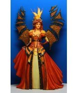 Red Dress Steampunk Fashioned Winged Fairy Queen Statue Figurine - £41.56 GBP