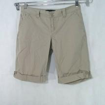 Calvin Klein Jeans Khaki Cuffed Bermuda Walking Shorts Women Size 10 Tan Cotton - $12.86