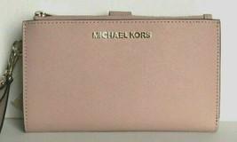 New Michael Kors Jet Set Travel Double zip wristlet wallet Leather Blossom - $69.30
