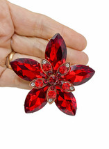 "2.5"" Diameter Large Red Acrylic Crystals Cluster Flower Statement Brooch... - $18.05"