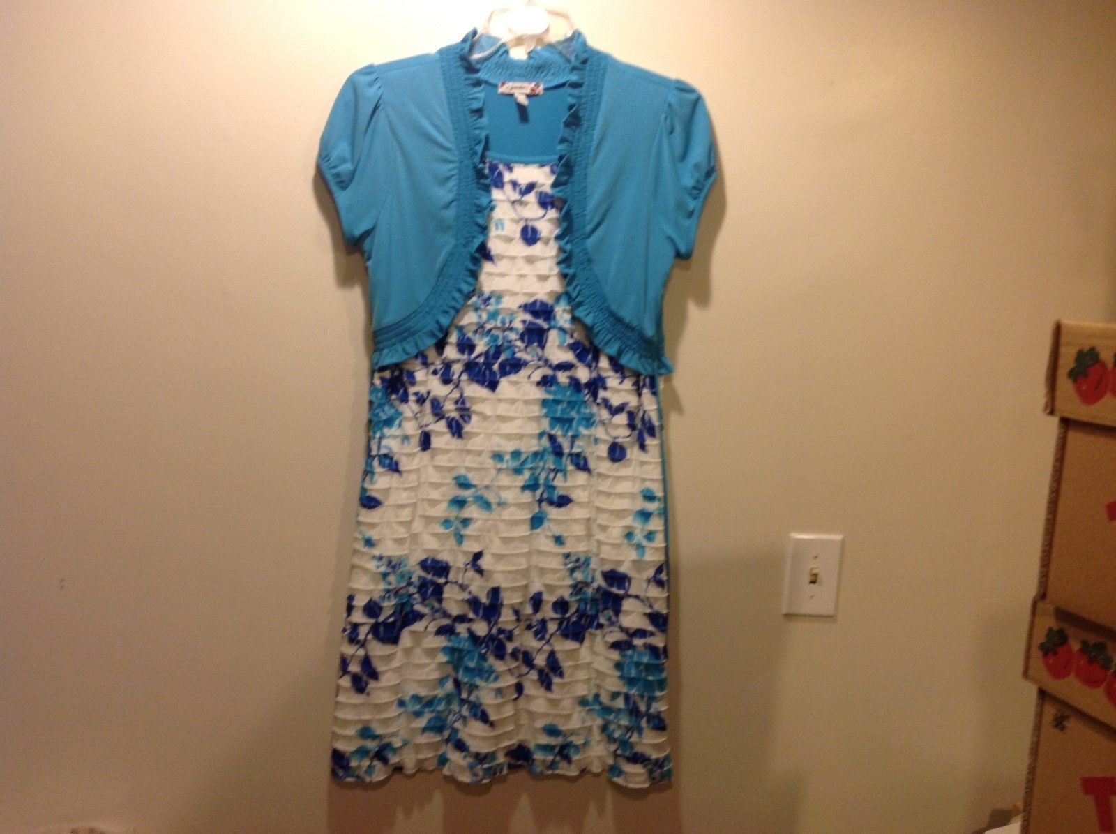 Speechless Baby Blue White Blue Short Sleeve Dress Sz 20.5