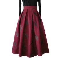 Black Winter Wool A Line Pleated Skirt High Waist Midi Skirt with Wing Patterns image 10