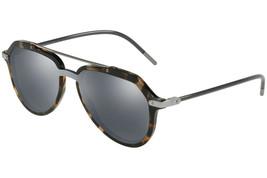 DOLCE & GABBANA Men's Pilot Sunglasses DG4330F 31416G Blue Havana/Grey Mirrored - $141.57