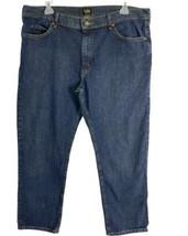 Lee Mens Jeans Size 42 x 30 Regular Fit Dark Wash Blue Stretch Denim  - $24.04