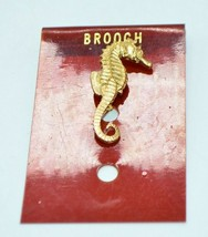 Seahorse Small Hollow Gold Tone Textured Vintage Mid Century Pin Brooch NOS - $19.79