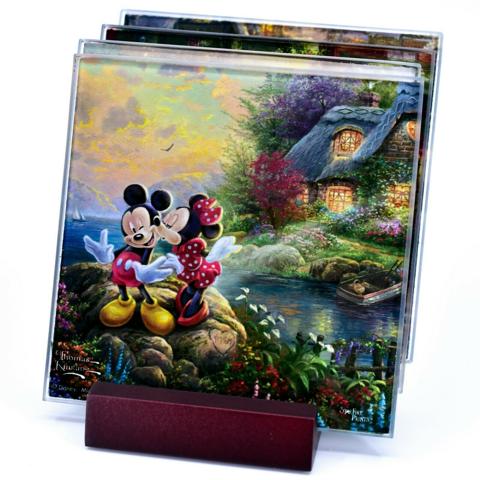 Thomas Kinkade Mickey & Minnie Sweethearts Prints 4 Pc Fused Glass Coaster Set