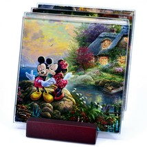 Thomas Kinkade Mickey & Minnie Sweethearts Prints 4 Pc Fused Glass Coaster Set image 1