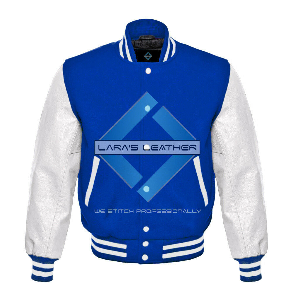 Primary image for Royal Varsity Baseball Genuine Leather Sleeve Letterman College  Men Wool Jacket