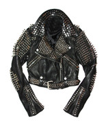 Handmade Men's Black Brando Silver Spiked Studded Leather Jacket - $249.99