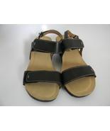 Clarks Black Leather Upper Wedge Heel Sandles Size 6M 26065199 - $27.99