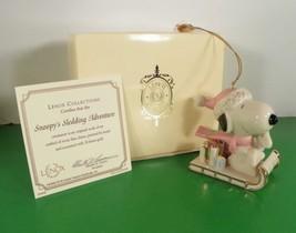 2002 Lenox Peanuts SNOOPY'S SLEDDING ADVENTURE Christmas Tree Ornament - $34.60