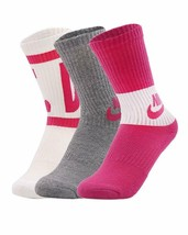 Nike Youth Girls Performance Cushioned Crew Socks Size 5Y-7Y SX6839-962 - $19.99