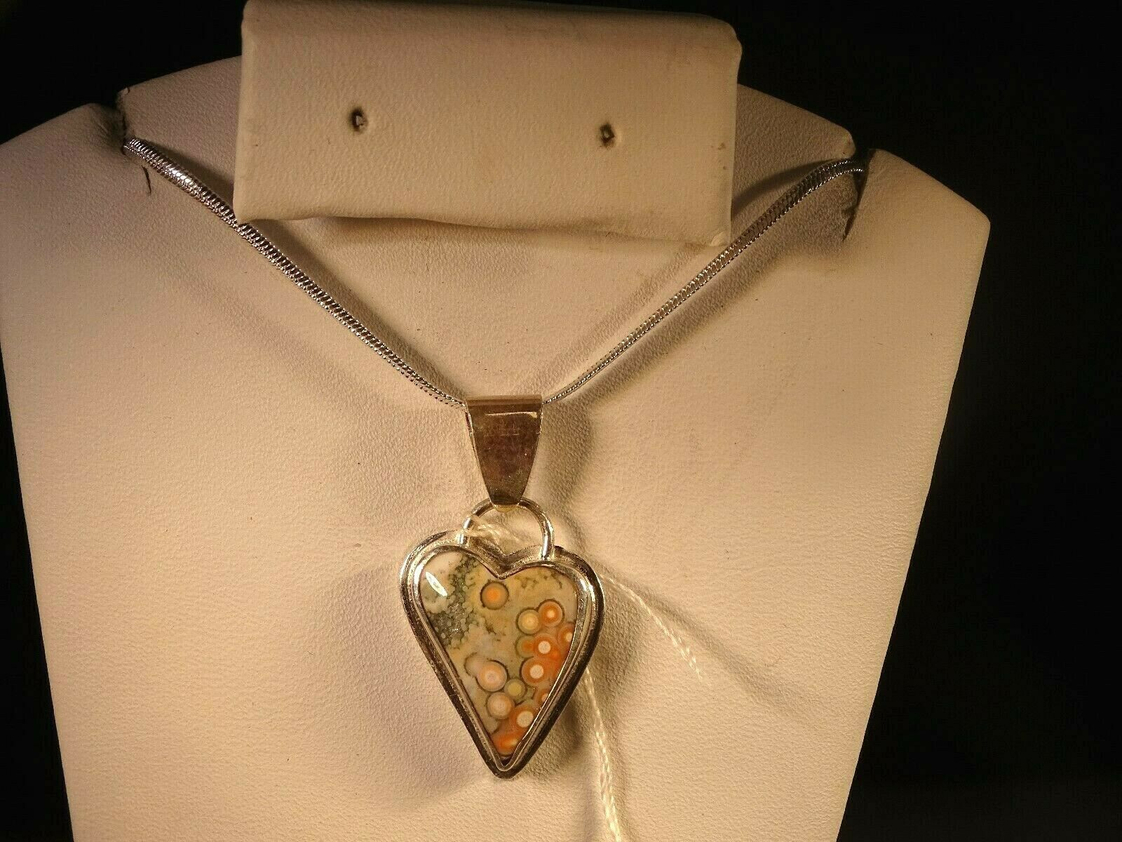 Primary image for OCEAN JASPER TINY HEART  PENDANT PINK ORBS SET IN STERLING SILVER..GORGEOUS!!