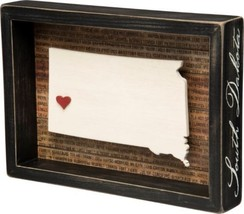 South Dakota Box Sign Primitives by Kathy State Home Decor Red Heart  - $24.95