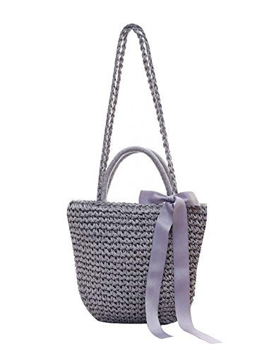 Primary image for Beautiful Straw Handbag Shoulder Bag Women Straw Weave Tote, Gray