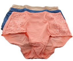 Breezies Set 3 Soft Support Lace Brief Panties Bright XL NEW A351931 - $20.77
