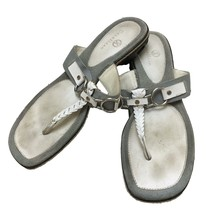Cole Haan Womens White Gray Leather T Strap Slip On Sandals Shoes 9.5 - $28.71