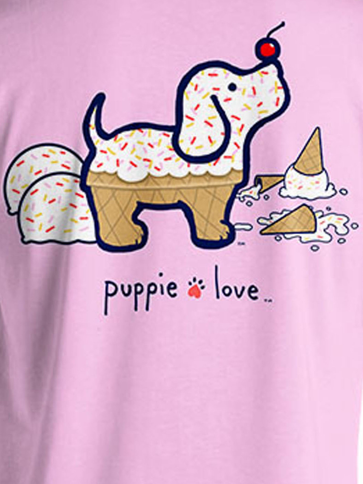 Puppie Love Rescue Dog Adult Unisex Short Sleeve Graphic T-Shirt, Ice Cream Pup