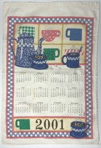 vintage 2001 kitchen calendar tea towel featuring brightly colored coffe... - $11.76