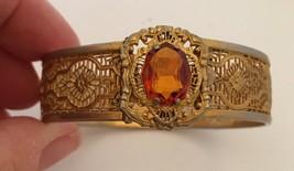 Vintage 1933 Lacey Gold Plate Filigree Orange Zircon Bracelet Patent JJ White - $78.21