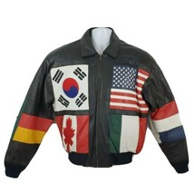 PHASE 2 Vintage Mens 90s World Flag Olympic Bomber Leather Jacket Coat S... - $173.24