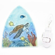 Fused Art Glass Sea Turtle & Fish Nightlight Night Light Handmade Ecuador