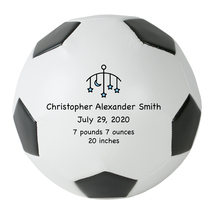 Personalized Custom Regulation Size Soccer Ball Blue Stars Birth Announc... - $59.95