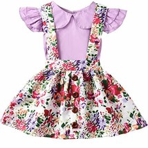 ASTRILL Baby Girls' Ruffled Sleeve Top and Floral Suspender Skirt Sets P... - $11.25