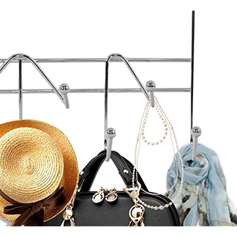 11 Hook Clothes Hanger Wall Home Restaurant Bar Chrome Over Door Organizer Hang